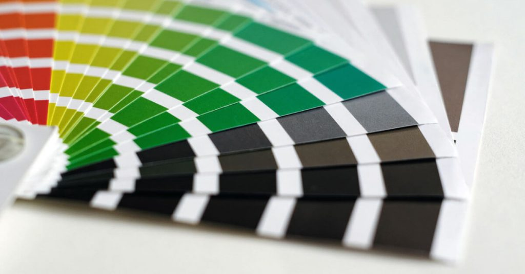 Image of color pallet indicating printers print quality